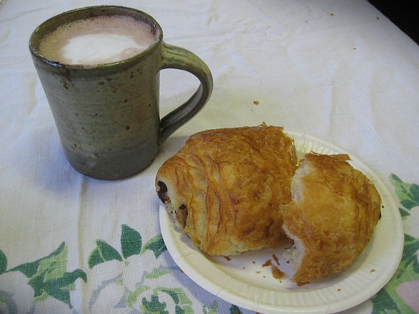 Hot Chocolate and a chocolate croissant
